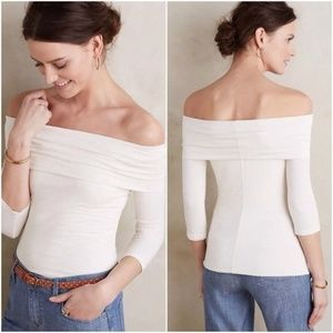 Anthropologie Amadi off the shoulder off white top